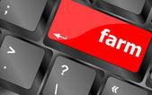 Pulsante fattoria sul tasto tastiera computer pc — Foto Stock