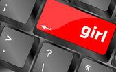 Computer keyboard key button - girl — Stock Photo