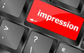 Impression word on computer pc keyboard key — Stock Photo