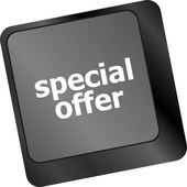 Special offer button on computer keyboard keys — Stock Photo