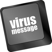 Computer keyboard with virus message key — Stock Photo