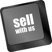Sell with us message on keyboard key, to sell something or sell concept, — Stock Photo