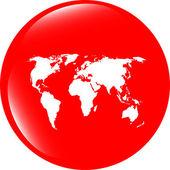 Globe icon, earth world map on web button — Stock Photo