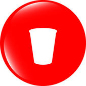 Coffee cup icon web button — Stock Photo