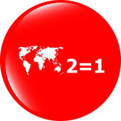 Two for one sign icon. Take two pay for one sale button. 2 equals 1 — Foto de Stock