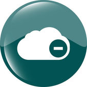 Web icon on the clouds with minus sign — Stock Photo