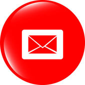 Email icon on glossy round button — Stock Photo