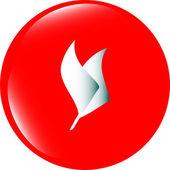 Leaf icon web button isolated on white — Stock Photo