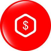 Webové ikony mrak s dolarů peněz znamení — Stock fotografie