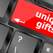 Unique gifts, events button on the keyboard keys - holiday concept — Stock Photo #48447731