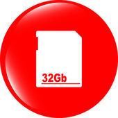 Flash memory card web button (icon) isolated on white — Stock Photo