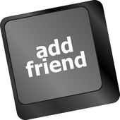 Keyboard with add friend button, social network concept — Stock Photo