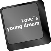 Love s young dream on key or keyboard showing internet dating concept — Stock Photo