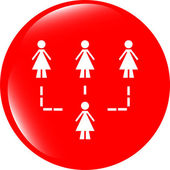 Icon button with network of woman inside, isolated on white — Foto Stock