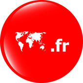 Domain FR sign icon. Top-level internet domain symbol with world map — Stock fotografie
