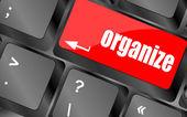 Woord organiseren op computer toets op het toetsenbord, — Stockfoto