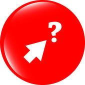 Pulsante di computer con segno di freccia e domande, icona web isolato su bianco — Foto Stock