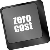 Zero cost button on computer keyboard key — Stock Photo