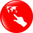 Icon with people hand and world map sign. Arrows symbol. Icon for App. Web button — Stock Photo