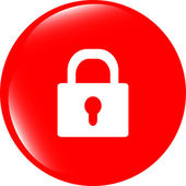 Closed lock glossy button isolated over white background — Stock Photo