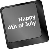 Concept: happy independence day 4th july key on the computer keyboard — Stockfoto