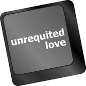 Unrequited love on key or keyboard showing internet dating concept — Foto Stock