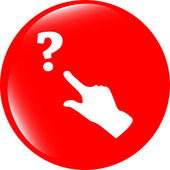 Question mark sign icon with people hand. Help symbol. FAQ sign. style buttons — Foto de Stock