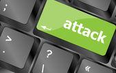 Botón de ataque en el teclado de computadora — Foto de Stock