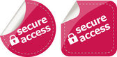 Secure access with lock on stickers set isolated on white — Stock Photo