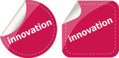 Innovation word on stickers button set, label — Stockfoto