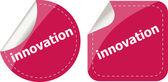 Innovation word on stickers button set, label — Stok fotoğraf