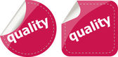 Quality word on stickers button set, label — Stockfoto