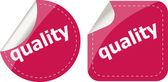 Quality word on stickers button set, label — Stok fotoğraf