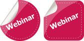 Webinar word on stickers button set, label, business concept — Stok fotoğraf