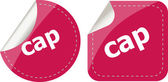 Cap word stickers set, web icon button — Stock Photo