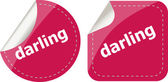Darling word stickers web button set, label, icon — 图库照片