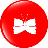 Butterfly Icon on Internet Button isolated on white — Stockfoto