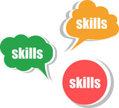 Skills word on modern banner design template. set of stickers, labels, tags, clouds — Stock Photo
