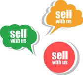 Sell with us. Set of stickers, labels, tags. Business banners, infographics — Stok fotoğraf