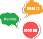 Meet up. Set of stickers, labels, tags. Business banners, infographics — Stok fotoğraf