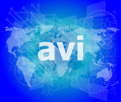 Digital concept: avi word on digital screen — Stock Photo