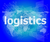 Business concept: logistics word on digital screen — Stockfoto
