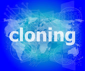 Cloning word, backgrounds touch screen with transparent buttons. concept of a modern internet — Stok fotoğraf