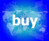 The word buy on digital screen, business concept — Stock Photo