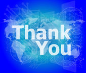 The word thank you on digital screen, social concept — Stockfoto