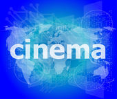 Cinema word on digital screen with world map — Stock Photo