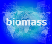 Biomass word on digital touch screen background — Stock Photo