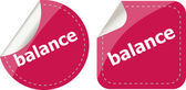 Balance word on stickers button set, label, business concept — Stock Photo