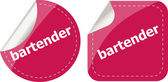 Bartender word on stickers button set, business label — Stock Photo