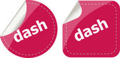 Dash word stickers web button set, label, icon — Stok fotoğraf